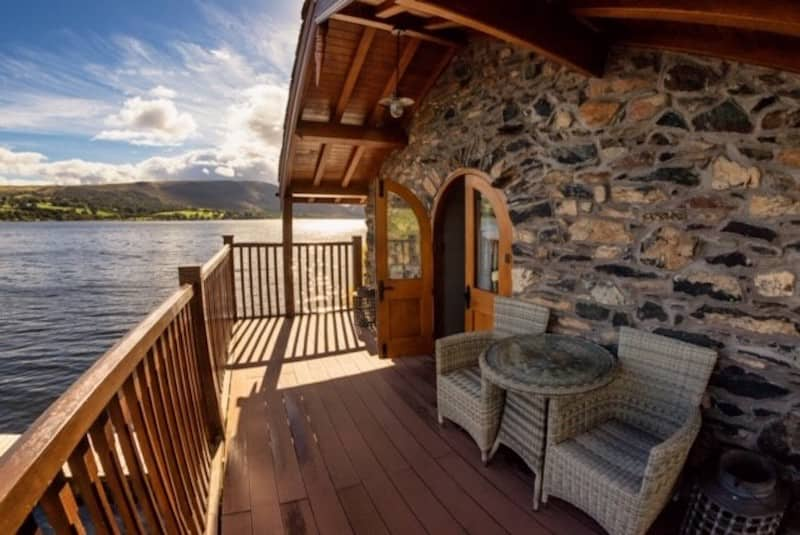 lake district romantic holiday cottages for couples Ullswater Boathouse balcony